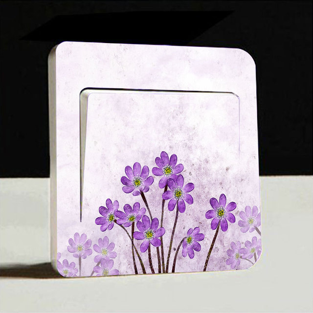 1pc Flower Artistic Switch Cover Wall Stickers Light Decor Decals Art