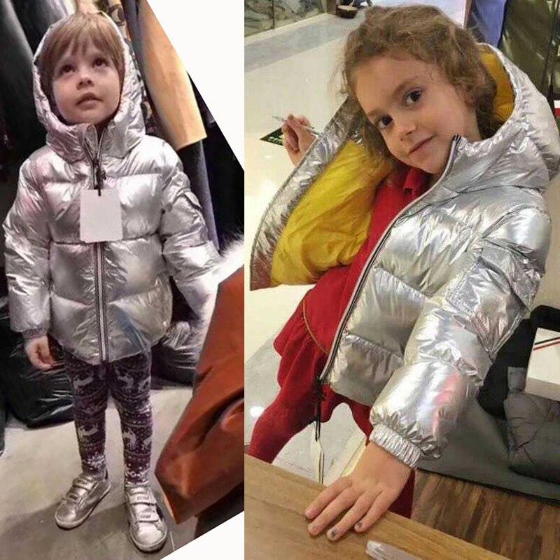 2018 Fashion children silver down jacket kids boys girls parka thickened warm jacket windproof winter children