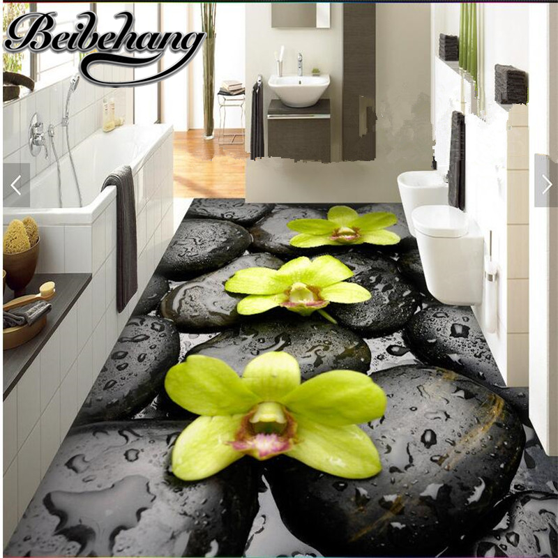 beibehang Custom green creative stone water drops orchid 3D floor tiles living room shopping mall floor self-adhesive decorative
