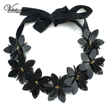 Vodeshanliwen Newest Charm Women Black Acrylic Flowers Statement Necklace Fashion Necklaces & Pendants handwork Jewelry