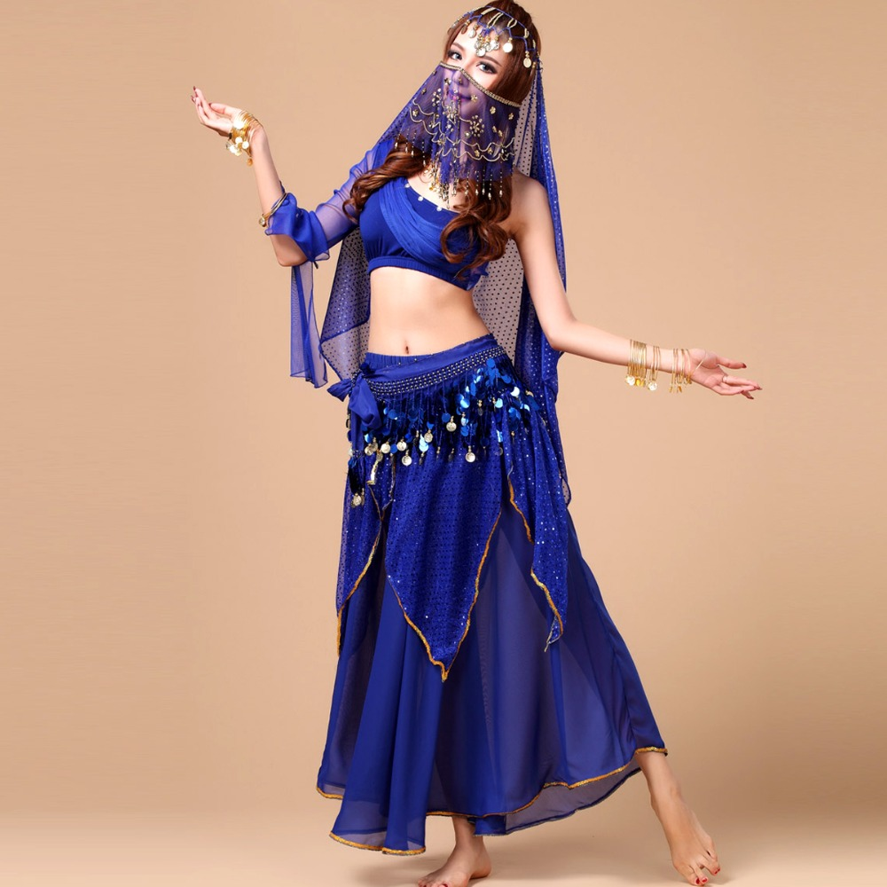 HOT SALE !! 2015 New Sexy Belly Dance Costume Set 5pcs (Top+Skirt+Belt+Headwear+Veil) Bollywood/Indian Dance Costumes Dancewear