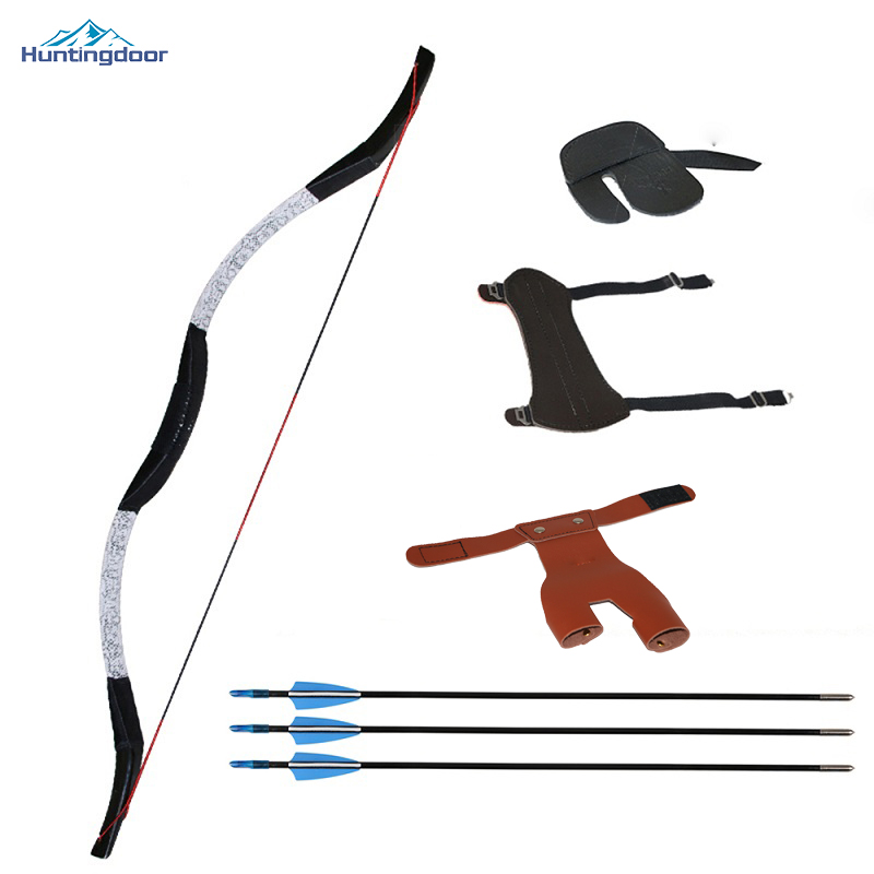 New Children Practicing Recurve Bow with Fiberglass Arrows and Protection Set for Target ...