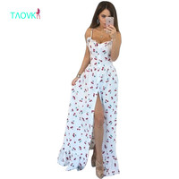 Russian Famous TaoVK Fashion 2016 Summer Women Long Cherry Printing White Empire Strapless Floor Length