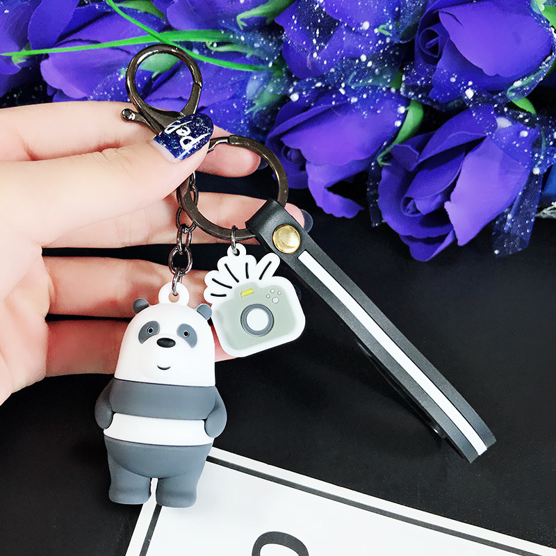 Image 5 - We Bare Bears Keychain Cartoon Anime Pendants Key chains For Women Kids Unlucky bear Series Trinkets For Car Key Car ornaments-in Key Rings from Automobiles & Motorcycles
