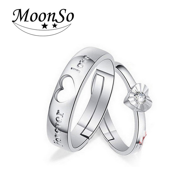 b9234dc8e9beb Aliexpress.com : Buy Solid Real 925 Sterling Silver Rings With CZ Zircon  for Couples Matching Rings Adjustable Ring Jewelry Couple Lovers Rings R687  ...