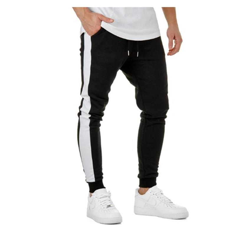 Homens da ginástica calças corredores sweatpants algodão homens calças lápis casual calças moda outono 2018 patchwork calças calças hip hop