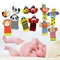 2pcs Newborn Rattles Soft Baby Toy Wrist Strap Socks Cute Cartoon Garden Plush Rattle with Ring Bell Handbells For Boy Girl Kids