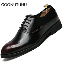 2019 new style fashion men's shoes casual leather male classic red or black lace up shoe man party brogue shoes for men hot sale mycolen new fashion mens office lace up classic leather shoes men s casual party driving man vintage carved brogue flats