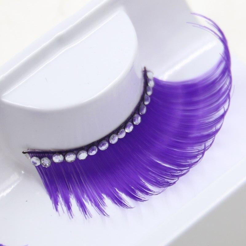 YOKPN Shimmery Color False Eyelashes Exaggerated Thick Cross Purple Fake Eyelashes Fashion Latin Show Makeup Crystal Eye Lashes