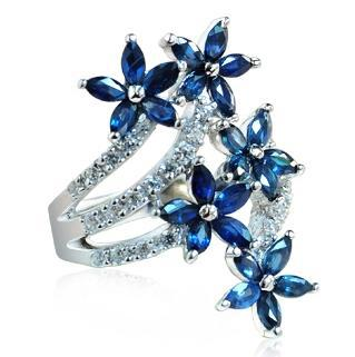 Natural Sapphire Night Blue Ring 925 Sterling silver Flower Woman Fashion Fine Elegant Luxury Jewelry Birthstone Gift natural pink ruby ring flower in 925 sterling silver fancy sapphire jewelry fashion elegant luxury birthstone gift sr0159r