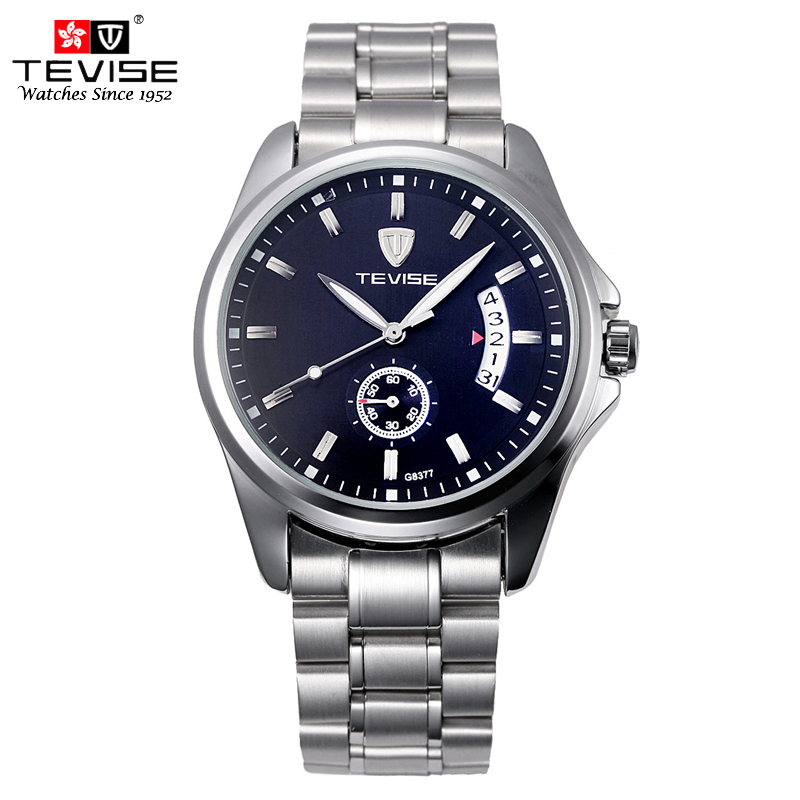 TEVISE Fashion Casual Men Automatic Watch Silver Stainless Steel Auto Date Mechanical Self Wind Original Brand Wristwatch 8377G tevise men automatic self wind gola stainless steel watches luxury 12 symbolic animals dial mechanical date wristwatches9055g