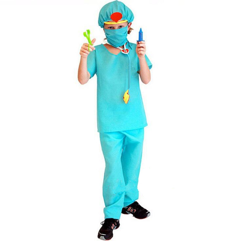 2018 Kids Boy Girl Surgery Doctor Costume Children Masquerade Cosplay Costumes Halloween Carnival Dress Party Supplies