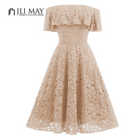JLI MAY Off Shoulder Lace Dress Black Beige Slash Neck Slim A Line Womens Clothing Party