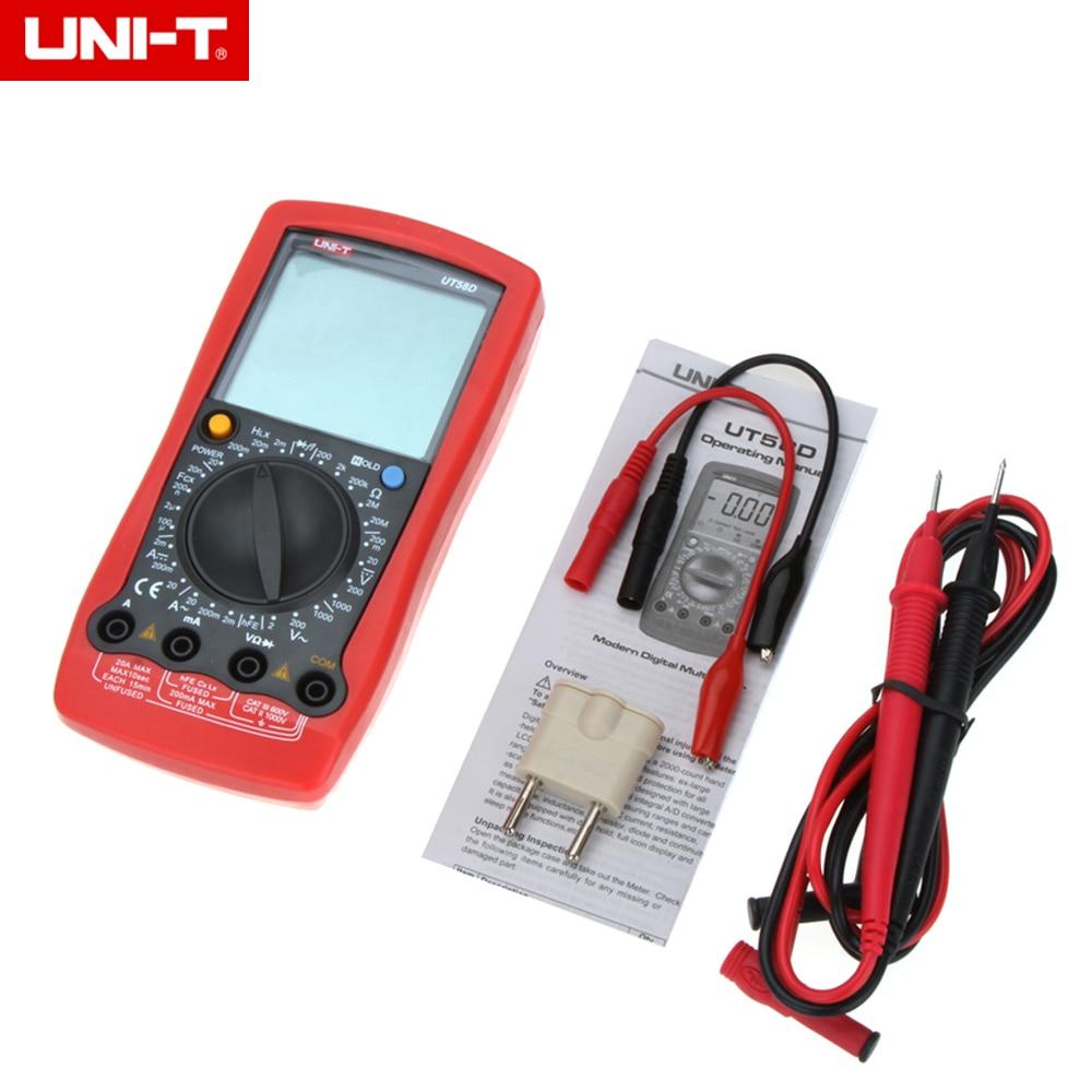 UNI-T UT58D LCD Digital Multimeter AC/DC Volt Amp Ohm Capacitance Inductance Tester 20A high precision digital capacitance inductance meter auto ranging component tester 500kh lc rc oscillation inductance multimeter