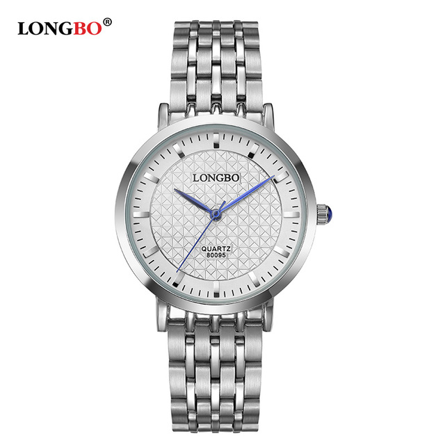 LONGBO Luxury Lovers Couple Watches Men Date Day Waterproof Women Gold Stainless Steel Quartz Wristwatch Montre Homme 80095