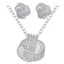 Новое поступление, цветные Серебряные Ювелирные наборы для женщин, свадебные модные ювелирные изделия, 18 дюймов, длинная цепочка, милые серьги-гвоздики в виде теннисного мяча, ожерелье