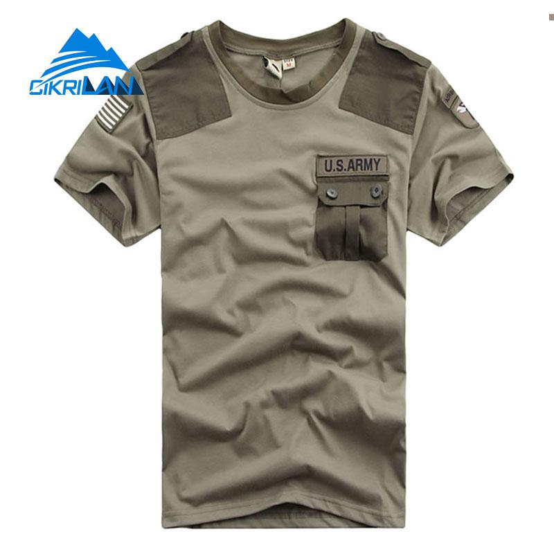 New Mens Summer Leisure Sport Tactical Combat Military T Shirt Short Sleeve Climbing Hiking T-shirt Men O-neck Fitness T-shirts trendy men s round neck geometric print short sleeve t shirt
