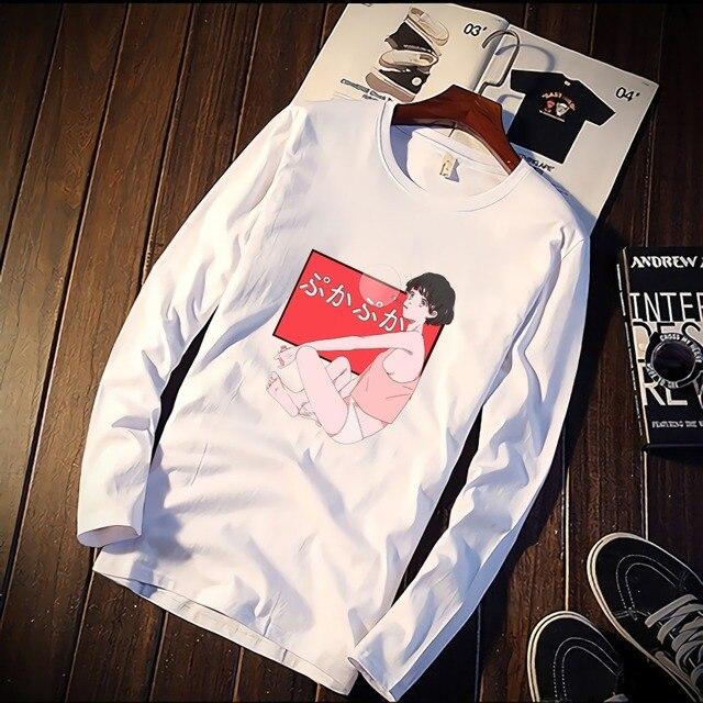 Us 7 73 45 Off Korean Style Kawaii Anime Girls Kiss Harajuku Aesthetics Funny Tshirt Custom Cotton O Neck Top Tees Plus Size Long Sleeve Brand In