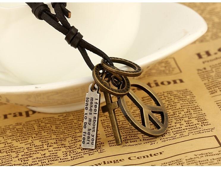 Antik Vintage Cross Dog Tag Hollow Peace Symbol Hänge Halsband män - Märkessmycken - Foto 4