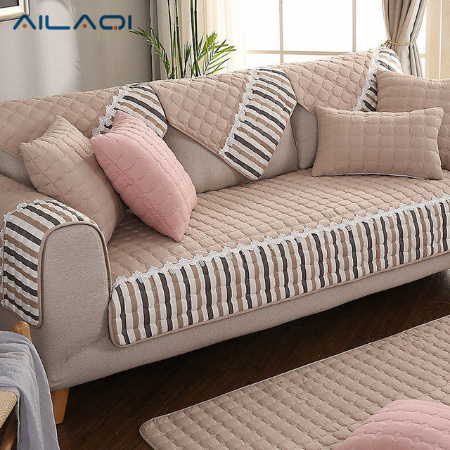 AILAQI 100% Cotton Modern Winter Sofa Sover Box Puzzle Couch Cover Slip  Resistant Sofa Cover