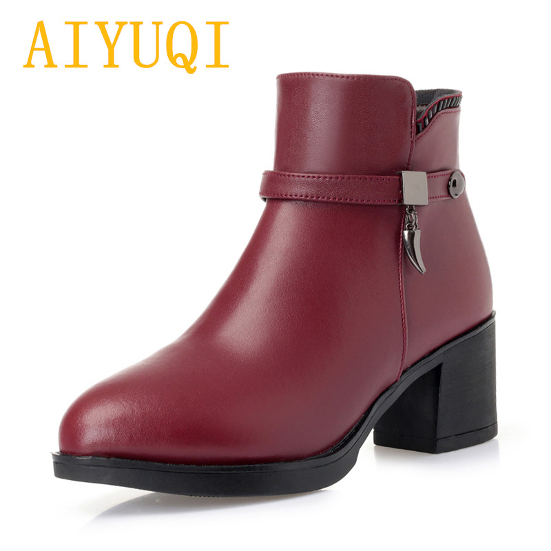 AIYUQI Female winter boots 2018 new women genuine leather Martin boots, high-heeled big size wool boots women wedding shoes lady цена