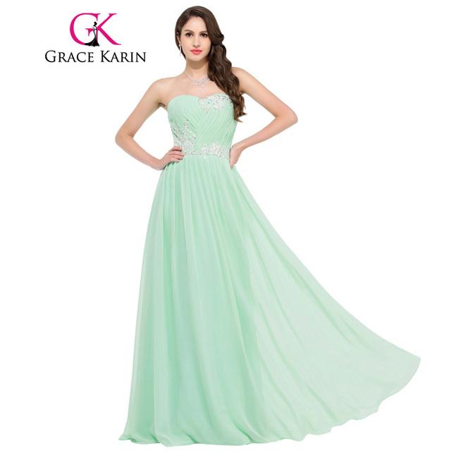 Grace Karin Long Bridesmaid Dresses 2017 Beading Sequins Floor Length Sweetheart Green Red Pink Blue Robe De Soiree Prom Dress