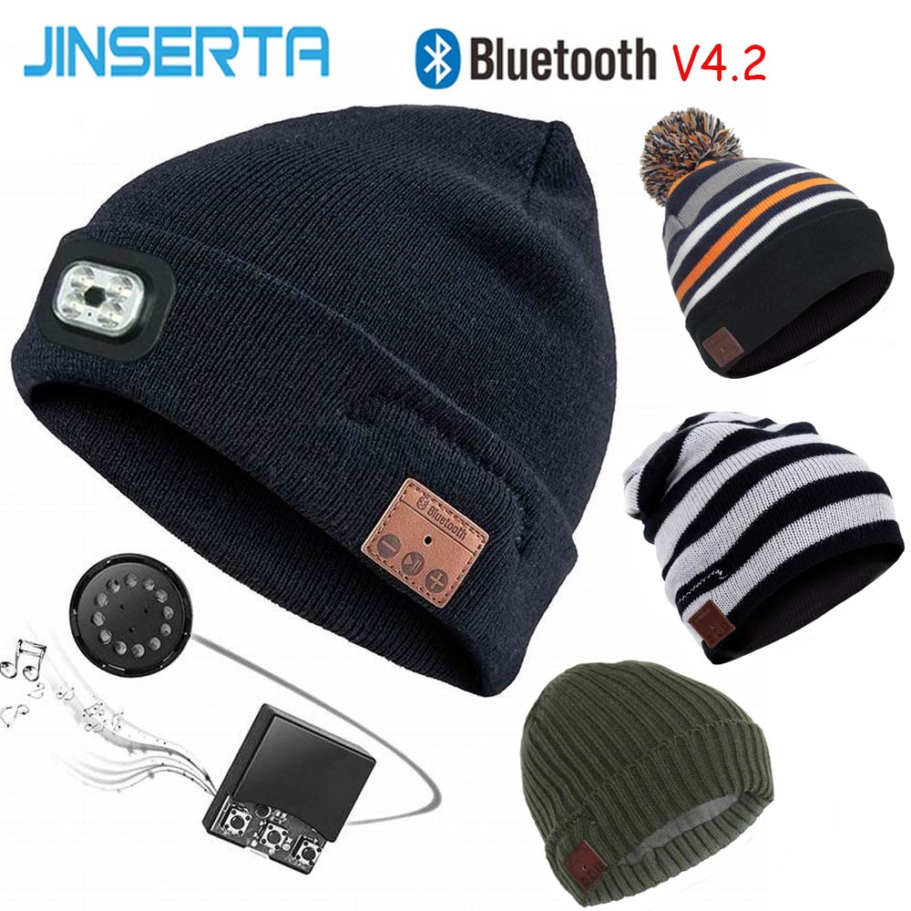 14fc78d2901 JINSERTA Wireless Bluetooth Earphone Hat with Removable LED Light BT 4.2  Stereo Music Caps with MIC