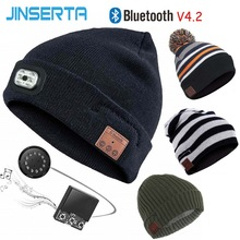 Wireless Bluetooth JINSERTA Earphone-Hat Stereo Handsfree with Removable Led-Light BT