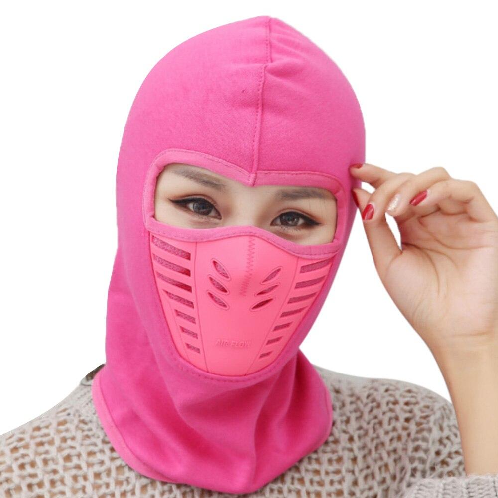 Мотоциклетная маска-шляпа, теплая ветрозащитная шапка, Женская Повседневная велосипедная унисекс - Цвет: rose red