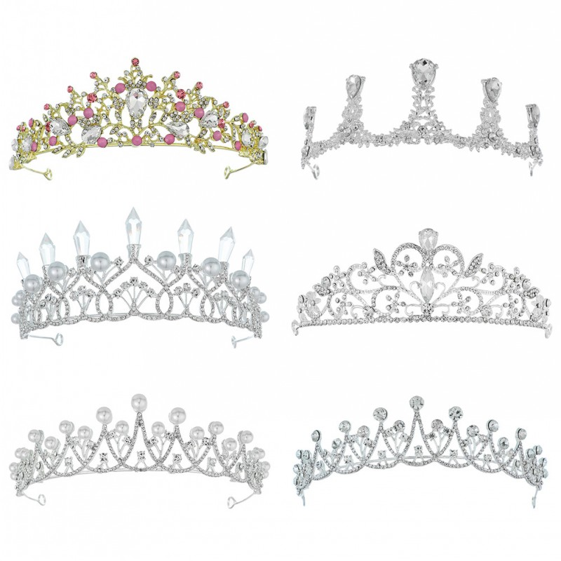 Diverse Silver Gold Color Crystal Crowns Bride tiara Fashion Queen For Wedding Crown Headpiece Wedding Hair Jewelry Accessories in Hair Jewelry from Jewelry Accessories