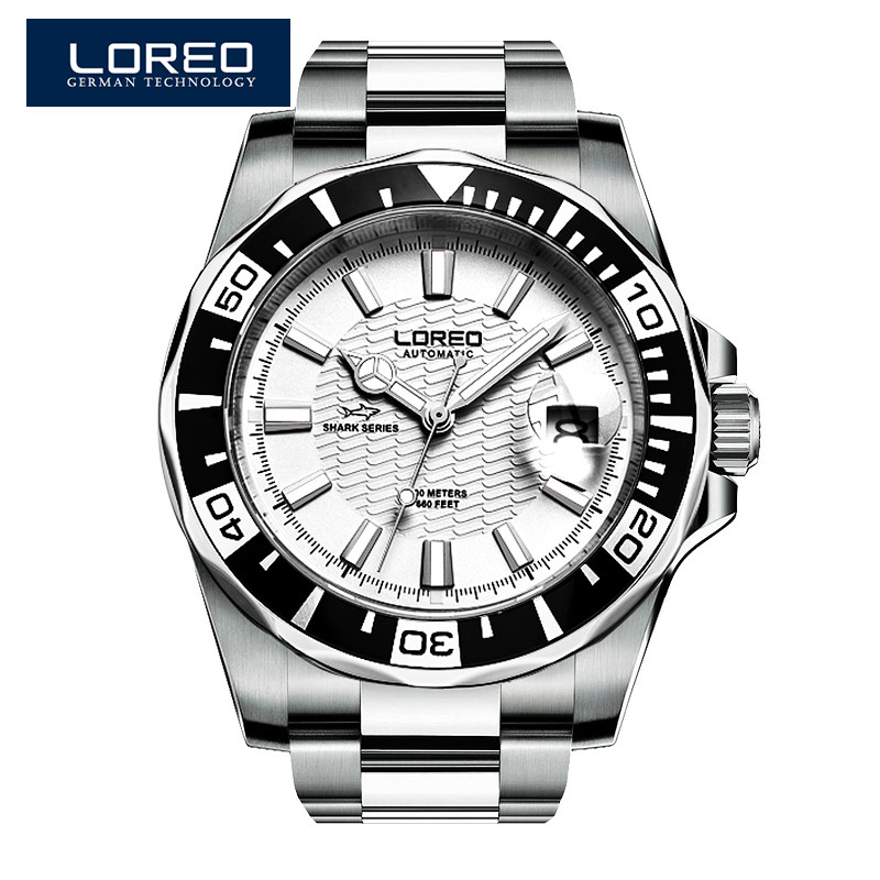 LOREO Sapphire Automatic Mechanical Watch Men Silver Stainless Steel Waterproof Blue Dial Watch Relogio Masculine Erkek Saat K29 loreo sapphire automatic mechanical watch men stainless steel waterproof auto date nylon watch relogio masculine masculino k34