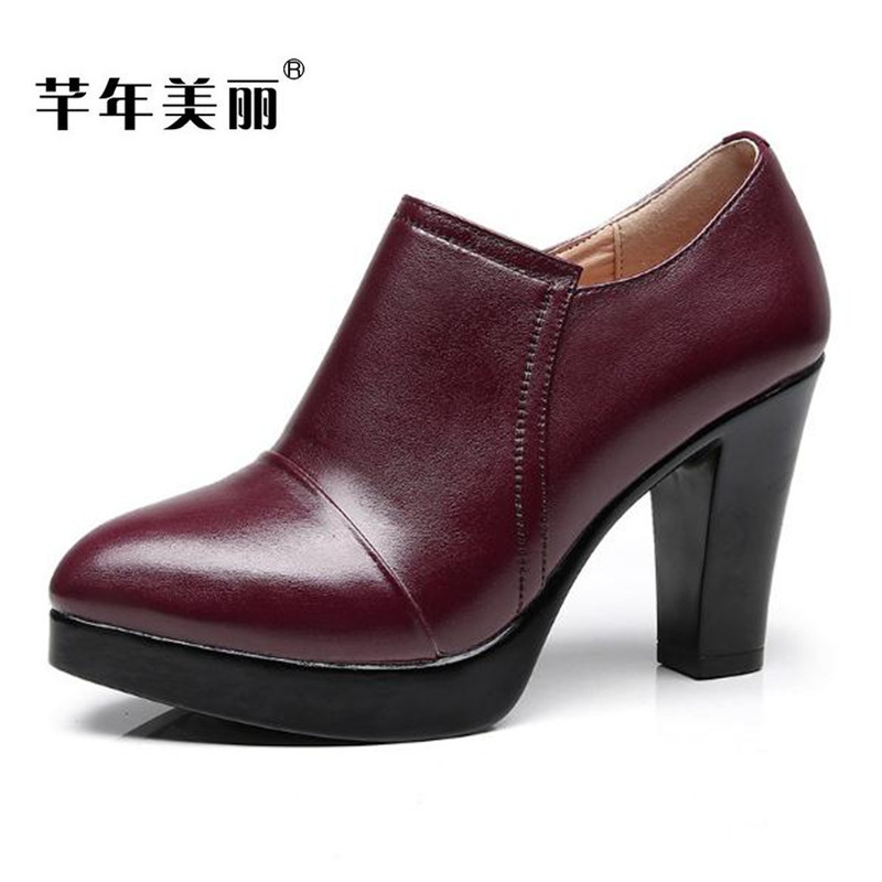 2018 spring new waterproof platform high-heeled shoes Plus Size Crude heel Women Shoes fashion women pumps Free shipping