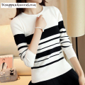 DRL Brand 2016 autumn women's slim black and white stripe thin sweater female long-sleeve pullover sweater basic sweate