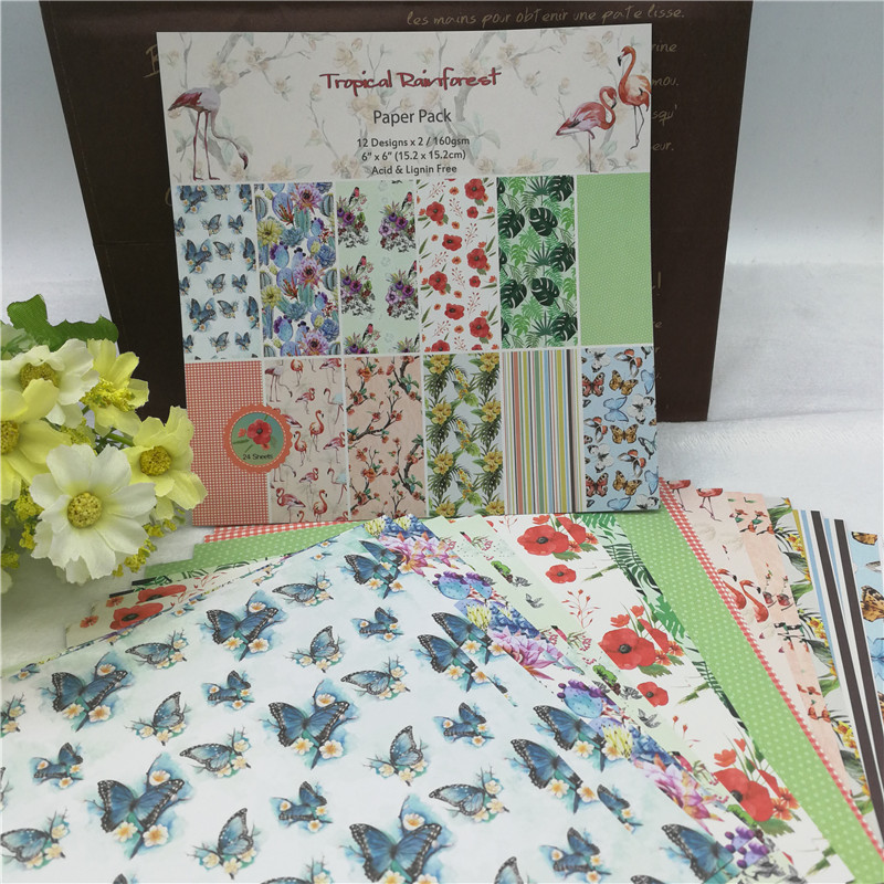 1 Set Mixed 24 Sheets 12 Designs DIY Paper Card Making Craft Scrapbooking Floral Christams Decor