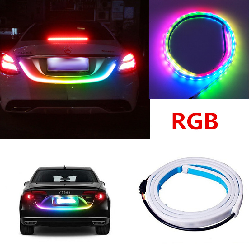 120cm 150cm Car Rear Trunk Lights Multicolor RGB Tail box Light Dynamic Streamer Brake Turn Signal Warning LED Strip Car Styling