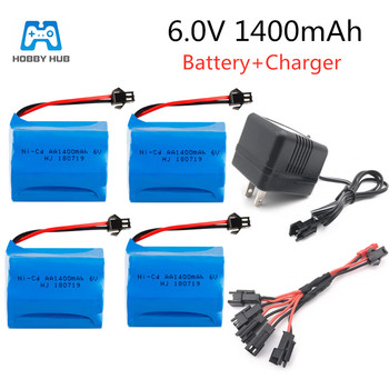 2/3/4 PCS 6V 1400mAh For RC toys cars trucks tank 6.0v AA Ni-CD 5 in 1 charger Rechageable battery for Guns lighting facilities image