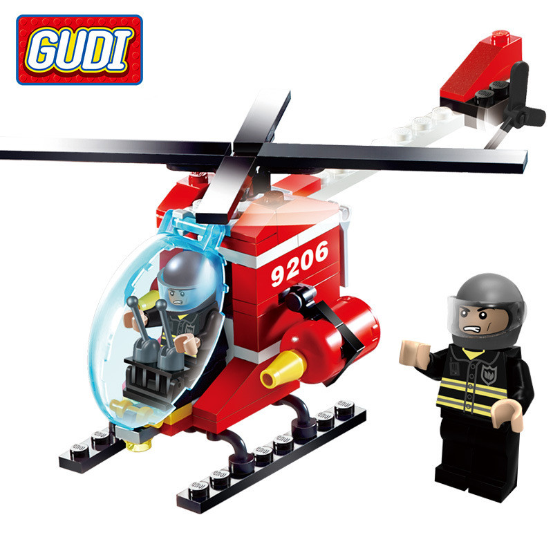 91pcs/set GUDI Firefighting Helicopter Kids Block Toy Educational Building Blocks Toys Set Kit for Children Assembling Airplanes mtele 6729 toy building blocks minifigures gift for kids policeman swat and helicopter building bricks kit assemble set