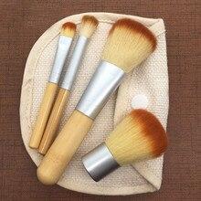 4 шт кисти для макияжа из бамбука набор теней для век кисти Косметика, смешивание Brush Tool красивые путешествия набор кистей для макияжа