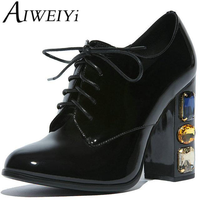 f257e755a8 AIWEIYi Womens Genuine Leather Oxford Shoes for Women High Heel Lace Up  Crystal Oxfords Ladies Patent