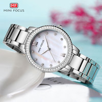 MINI FOCUS Analogue Quartz Watches for Women Stainless Steel Bracelet Waterproof Wristwatch for Lady Woman Relogios 0226L Silver