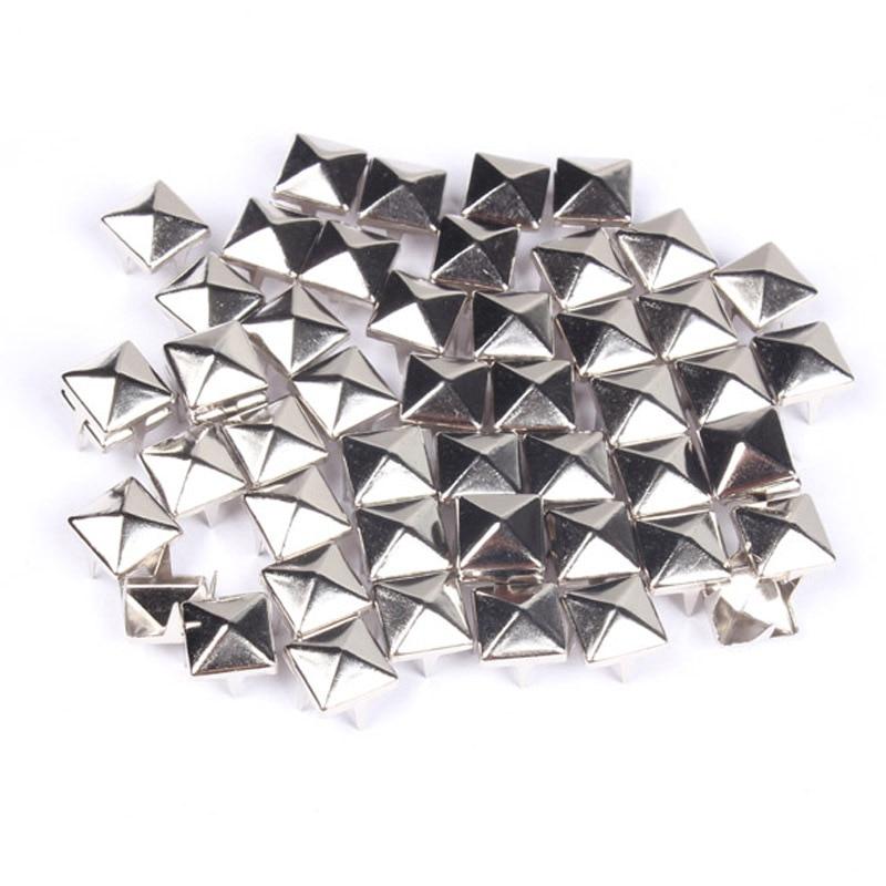 100Pcs мода 7мм DIY Спайк площади стержня заклепки Punk сумка пояс изделия из серебра