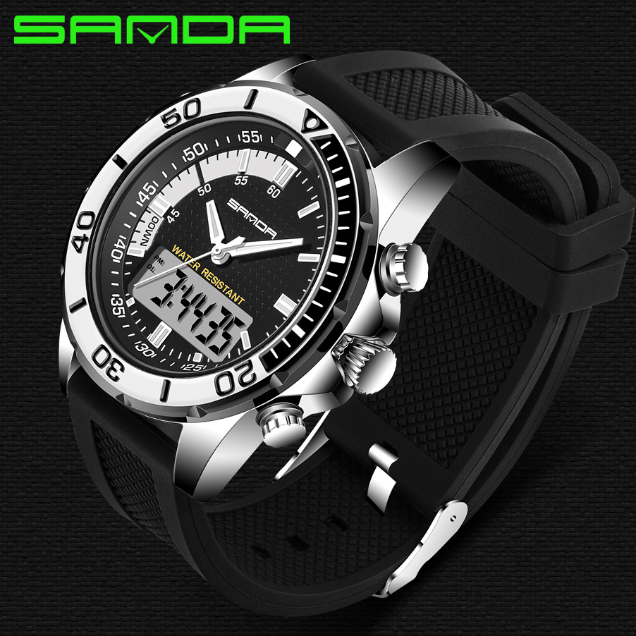 2018 New Sanda Watches Male Fashion Sport Military Wristwatches Men Luxury Brand Waterproof 30m Led Digital Analog Quartz Watch 2014 new arrival fashion men sports dual movement analog watches military quartz luxury fashion brand led watch 30m waterproofed oversize wristwatch red