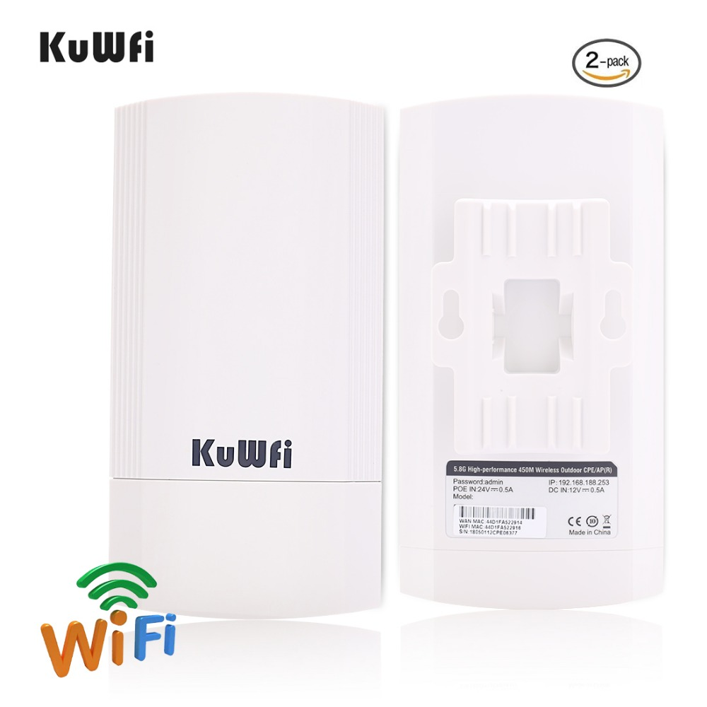 2 Piece 5Ghz 450Mbps 2KM p2p Wireless Outdoor Wireless CPE Bridge Router Supports WDS Function No setting with LED Display
