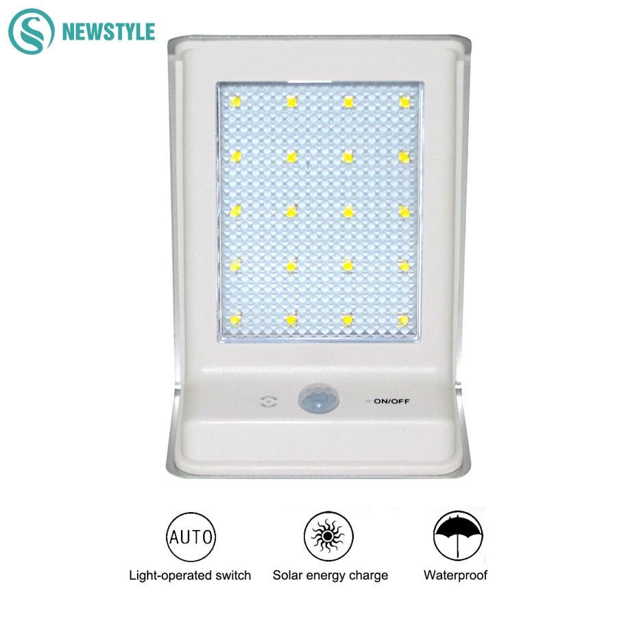 Motion Sensor Solar Light 20 LED Waterproof Outdoor Lighting LED Solar Lamp for Energy Saving for Street Aisle Garden Lights