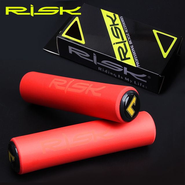 Risk Mountain Bike Grips Parts Ultra-Light High Density Silicone Handlebar MTB Anti-slip Bicycle Grip Cover