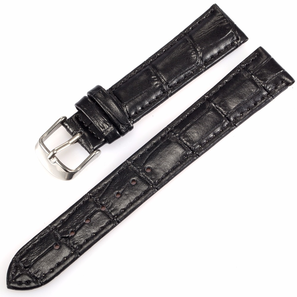 Quality 18mm 22mm 24mm Width Men's Wrist Watch Black Brown Genuine Leather Belt Band Steel Buckle Wristwatch Strap /WB1809/2409 22mm 24mm black mens genuine leather watch strap band