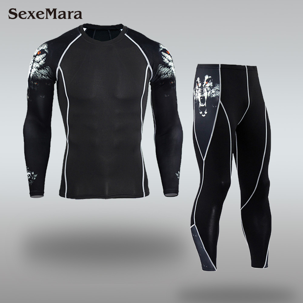 Mens Sport Running Set Compression T-Shirt + Pants Skin-Tight Long Sleeves Fitness Rashguard MMA Training Clothes Gym Yoga Suits