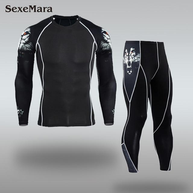 גברים ספורט ריצה דחיסת סט חולצה + מכנסיים עור צמוד ארוך שרוולי כושר יוגה בגדי כושר אימון MMA Rashguard חליפות