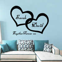 Personalized custom name vinyl wall sticker loving heart Home Decorations Decal For bedroom Decor wallpaper Art Decals