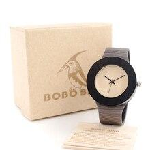 BOBO Cilindro PÁJARO De Madera Caja de Reloj Para Hombre del Movimiento de Japón 2035 Cuarzo Reloj masculino del relogio esportivo